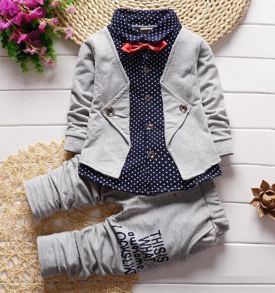 af9bacc3d1b294 重ね風ベビー服 ブラウス男の子セットアップ子供服キッズ長袖シャツ+パンツ2点セット