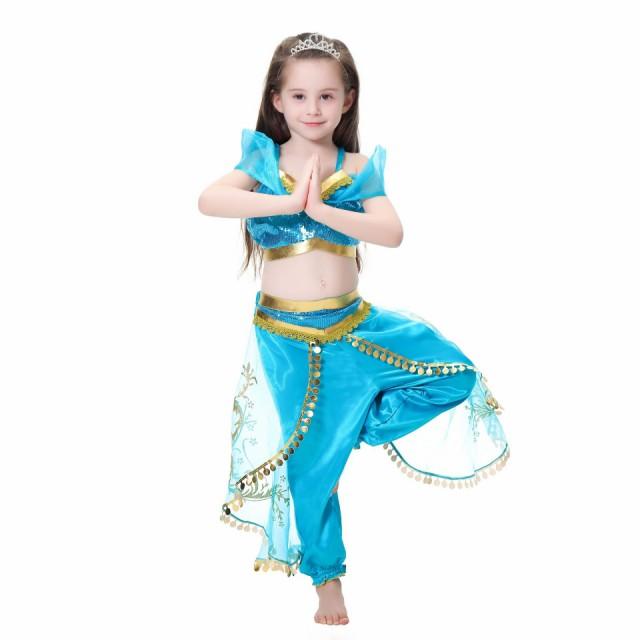 c487618b581f0 衣装 プリンセスドレス ブルー コスチューム インディアン ジャスミン姫 子供用 アラブ 中東