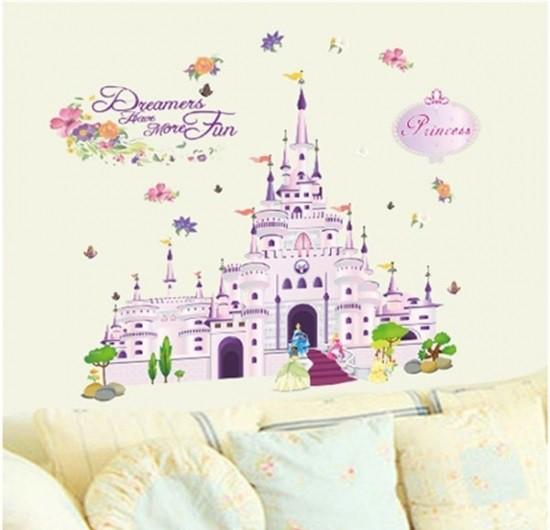 ウォールステッカー プリンセスシンデレラ城 壁紙シール ピンク