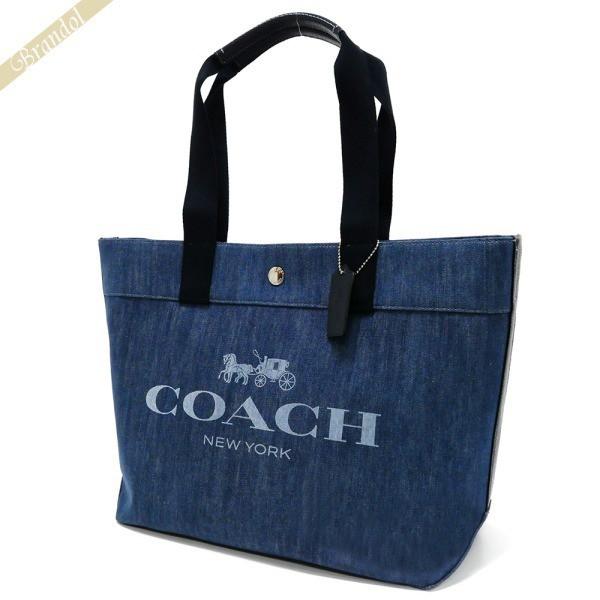 80036e4e00e9 《還元祭クーポン対象》コーチ COACH レディース トートバッグ ロゴ キャンバス デニムトート ブルー