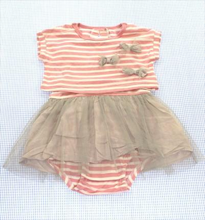 73ea128db0498 キッズ トップス ブランシェス BRANSHES ロンパース Tシャツ 70cm ピンク 白系 ボーダー ベビー 女の子 中古 子供