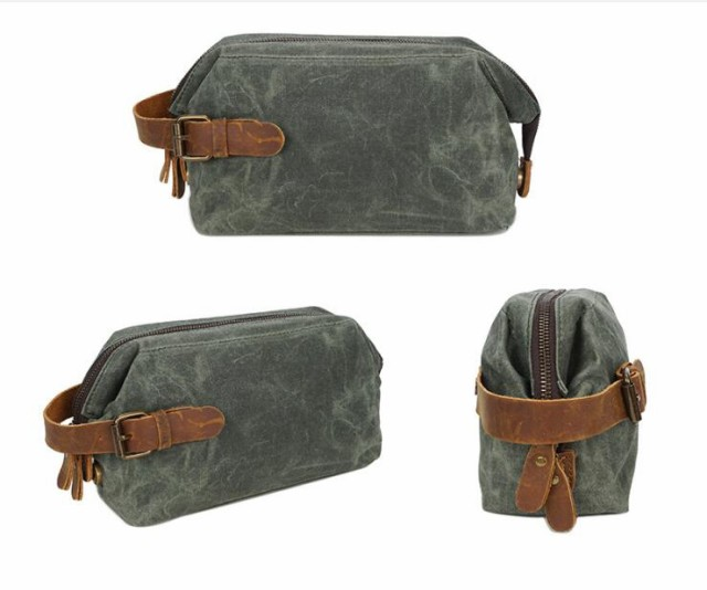 AkI MOIクラッチバッグ、ウォッシュバッグ、ヴィンテージ化粧品バッグ、ファーストレイヤーレザー、リストバッグ