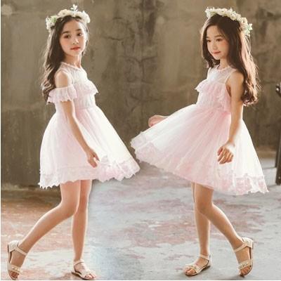 3e5c1bc7d6b25 子供服 ワンピース キッズ 韓国子供服 女の子 オフホワイト レース付き 無地 肩空き プリンセス