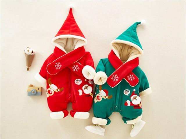 a47855609807d 裏起毛 子供服 クリスマス サンタ 中綿コート 女の子 サンタ服 男の子 ロンパース カバーオール 子供 ベビー