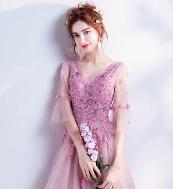 463c502962335 ウェディングドレス ロングドレス カラードレス二次会 花嫁 ファスナータイプ レース パーティードレス 結婚式 二次会
