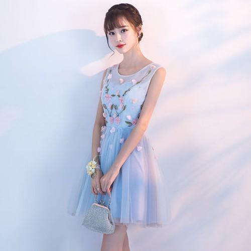 87d548a104f86 水色お花モチーフパーティードレス チュール 結婚式 二次会 衣装 プチプラ 盛れる お洒落 清楚系