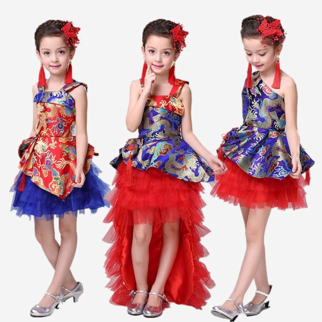 d9925cce5b63d 2枚送料無料キッズダンス衣装 中国風子供ドレス ステージ衣装 舞台団体服 ...