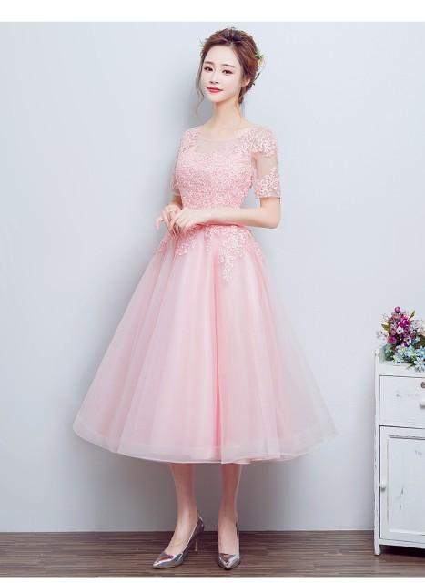 可愛い 韓国風イブニングドレス ピンク パーティドレス袖あり ミモレ丈 ブライズメイドドレス カラー