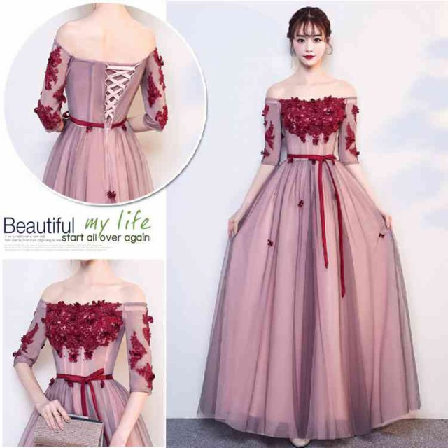 42d384d6e1640 カラードレス 赤 演奏会 安い 結婚式 イブニングドレスカクテルドレス 半袖 ロングドレス 発表