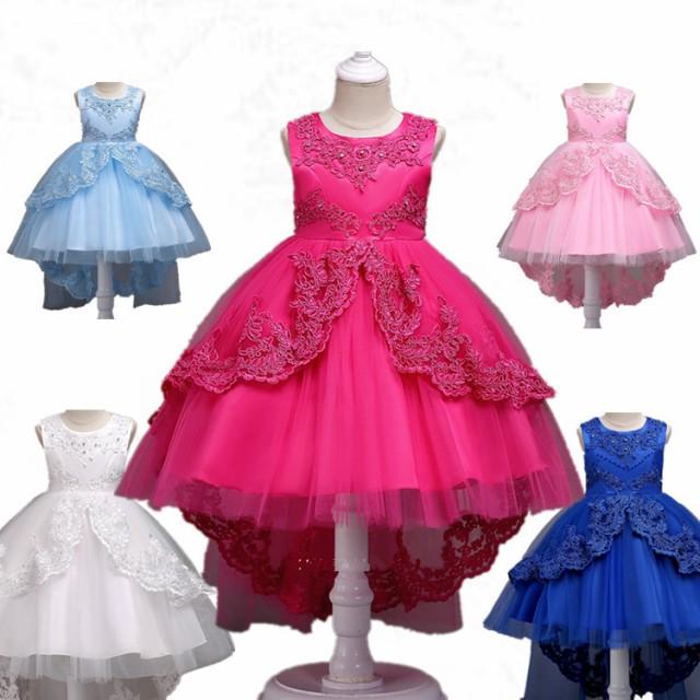 de0e479095a01 新品セール 素敵な子供ドレス ピアノ発表会 プリント ドレス 女の子 二次会 花嫁 ジュニア 結婚