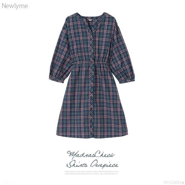 3ed414809d9c9  メール便対応  選べる衿デザインマドラス グレンチェックシャツワンピース