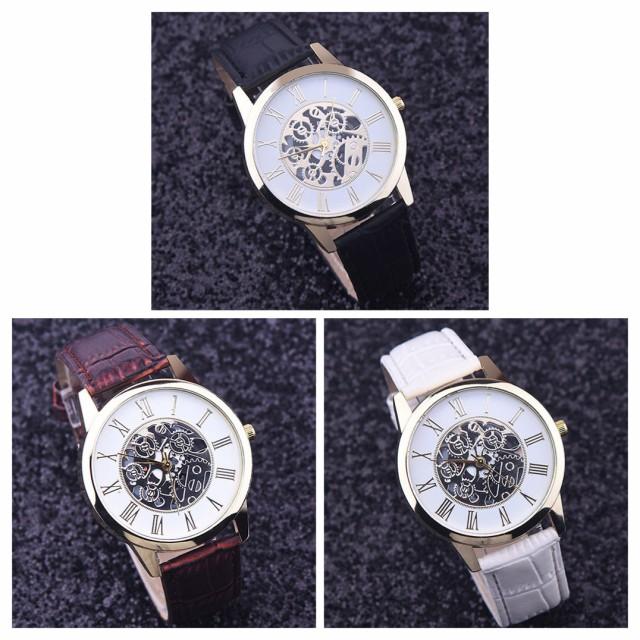 6c8d33e70e 腕時計 メンズ レザー 時計 革 ベルト ウォッチ オシャレ ギリシャ文字 人気ブランド ブラック ブラウン ホワイト