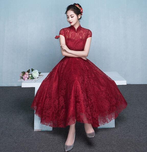 パーティードレス 赤 ミディアム丈ドレス 袖あり ウェディングドレス 結婚式ミディアム丈 大きいサイズ