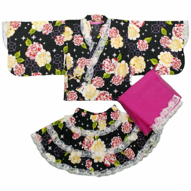 6c449b478340c 女の子キッズ レース付浴衣ドレス シフォン帯付 ゆかたドレス バラ 花柄 女児 ガールズ