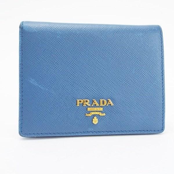 6ac6475d8b37 プラダ サフィアーノ 二つ折り財布 ブルー ゴールド金具 中古 Bランク PRADA | ウォレット 財布 コンパクト