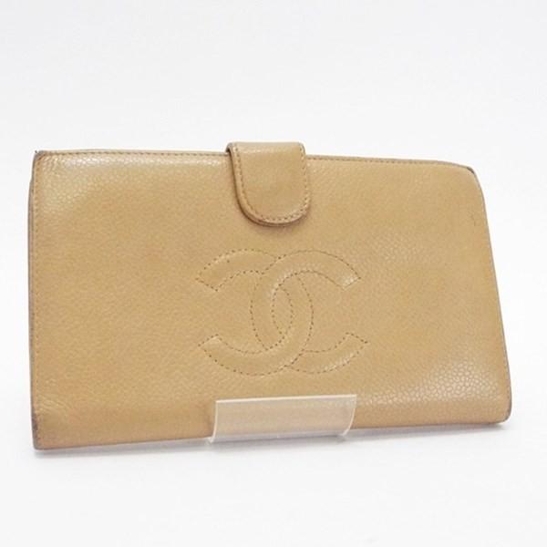 149e022faf40 シャネル キャビアスキン 二つ折り長財布 がま口 A13498 ベージュ ココマーク 中古 CHANEL レディースネコ
