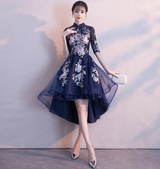 f486195f04eb4 パーティードレス ミモレ丈 フィッシュテール チャイナドレス風 五分袖 ブルー 花柄刺繍