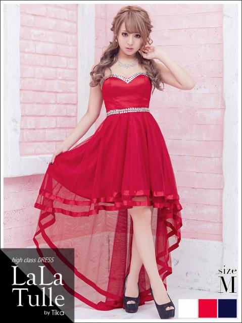 1a6bdeb017968 LaLaTulle ララチュール 背中スピンドルビジューラインデザインロングドレス ホワイト レッド ネイビー Mサイズ