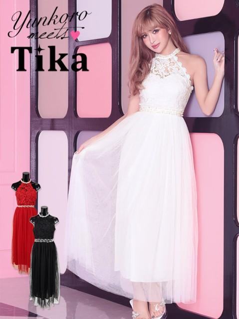 7fc4340fcb79f Tika ティカ 胸元透け刺繍レースホルターネックロングドレス (ホワイト レッド ブラック)