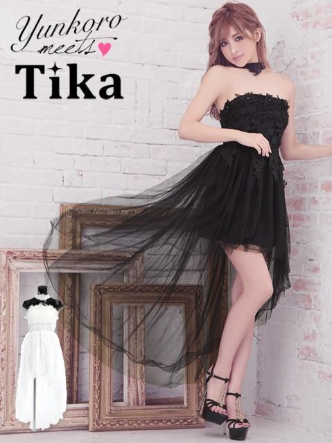 38ebf074cccea Tika (M) フラワーレースチュールロングテールタイトミニドレス (白 黒 ...