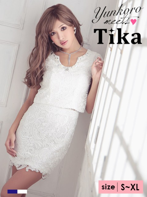f035bcfc81310 Tika (S M L XL) 半袖総レースタイトミニドレス ネイビー 白 キャバ ...
