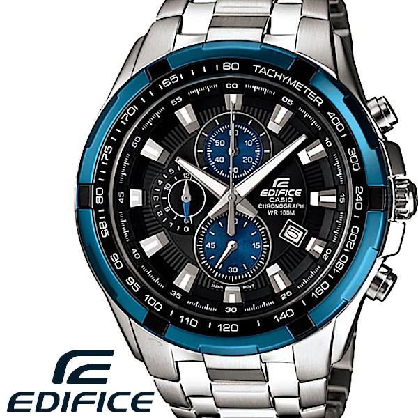7b6fc98ce5 CASIO EDIFICE カシオ エディフィス 腕時計 エディフィス メンズ 腕時計 クロノグラフ ステンレス 海外モデル ブラック ブルー