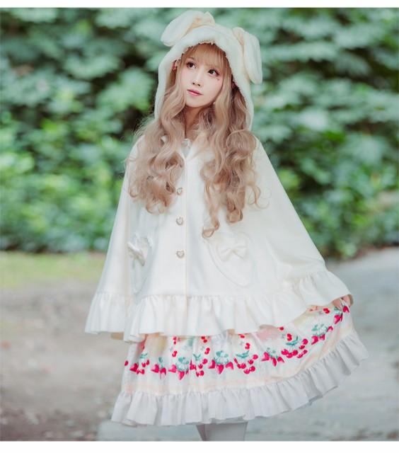 ロリータファッション Lolita ロリィタ ロリータ耳付きケープ 黒猫 白