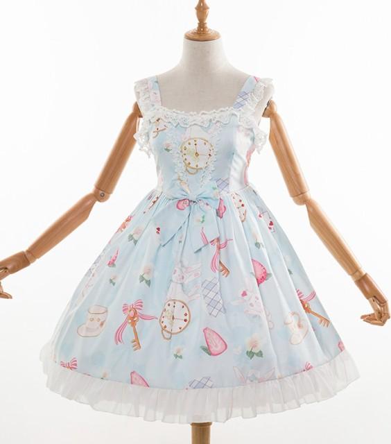 dbe03483b220f ロリータワンピース ロリータドレス lolita ロリィタ ハートうさぎのジャンパースカート ジャンスカとヘッドドレス付き