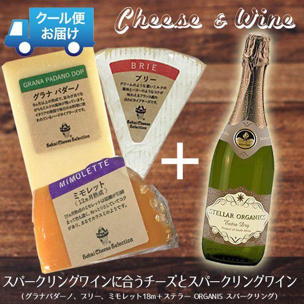 チーズ ワイン 詰め合わせ セット チーズ3種と スパークリングワイン おつまみ ミモレット ブリー グラナパダーノ