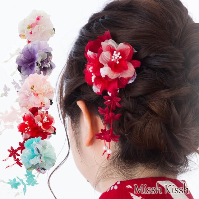 4ffd12aaa6180 やわらかな2輪のお花と下がりの和柄クリップ 髪飾り 浴衣 和装 ...