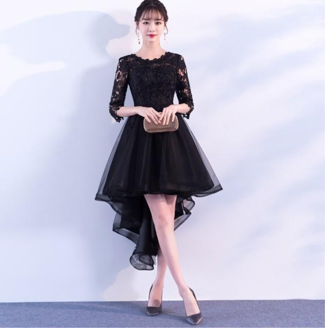 ドレス パーティードレス ワンピース 袖あり ショート丈 フィッシュテール 花柄 結婚式 二次会 お呼ばれ