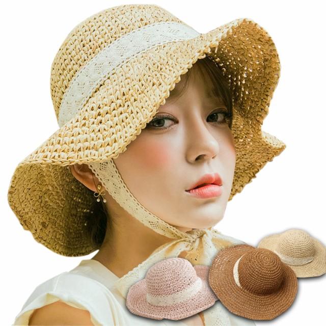 1ea144c208b38 麦わら帽子 UVカット 日よけ 折りたたみ あごひも レースひも つば広 ...