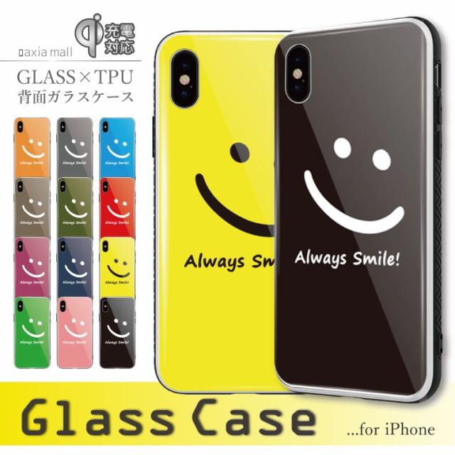 37fb997b36 ガラスケース iPhone XS iPhone8 ケース 背面ガラス TPU スマホケース おしゃれ 海外 スマイル ニコちゃん Smile
