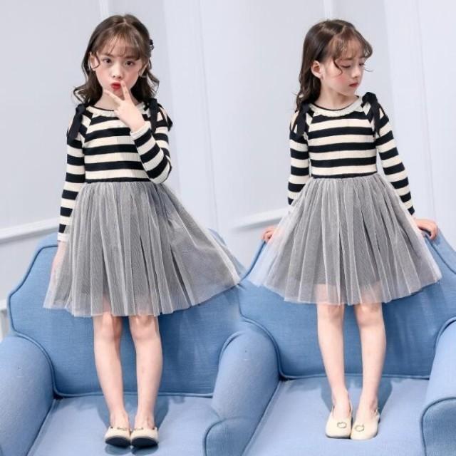 dafb76c606fa8 女の子 可愛いスタイル チュールスカート韓国子ども服 秋着 ニットワンピース 長袖ワンピ フォーマル オフ