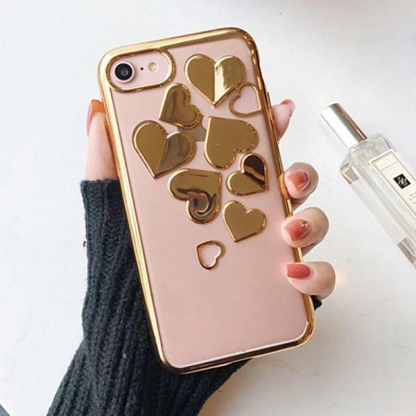 e338c4f909 【 iPhone6sPlus ゴールド】ソフトケース カバー キラキラ 3Dハート iPhone アイホン スマホ 全3色