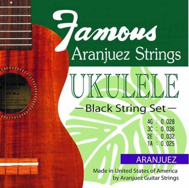 【送料無料 郵便】Famous ウクレレ弦 ARANJUEZ BLACK SET ブラックのナイロン弦