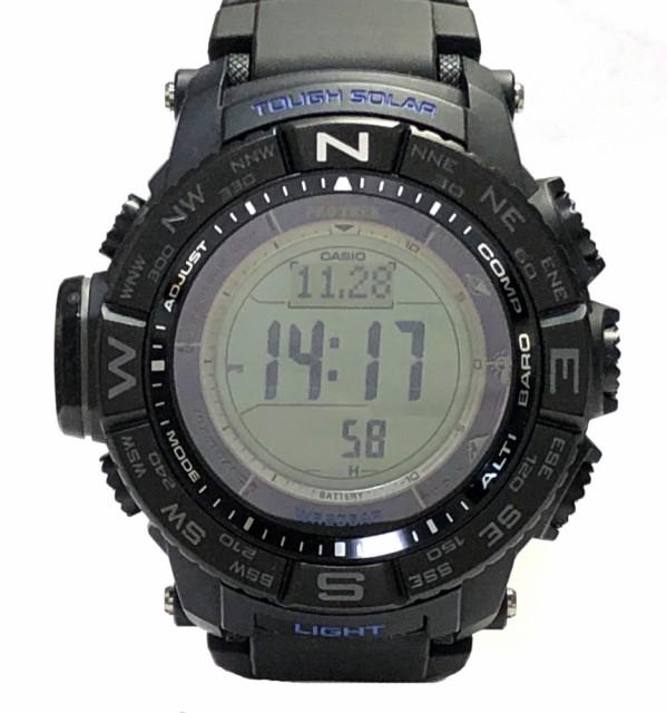 38be039454 新品同様 カシオ プロトレック PRW-3510 ブラックベゼル トリプルセンサー タフソーラー 電波時計