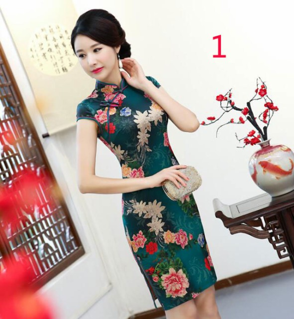 4f4781e34c8d4 二点送料無料 レディースファッション チャイナドレス ワンピース ミニードレス 花柄 中国風 タイト