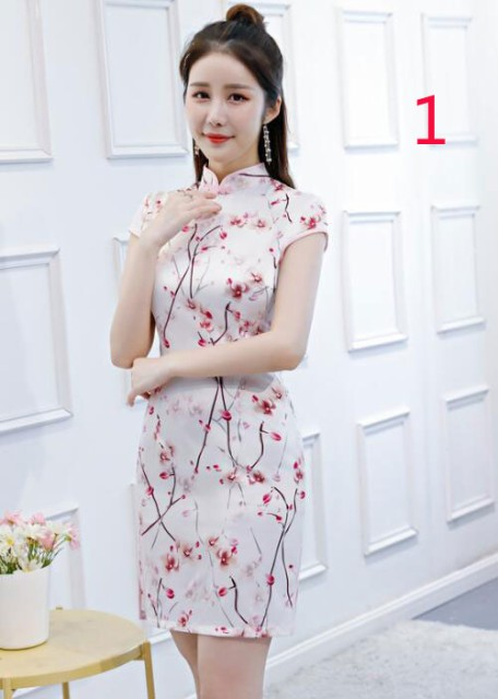 7cffee5813afd 二点送料無料 ワンピース レディースファッション チャイナドレス ミニードレス 花柄 中国風 タイト