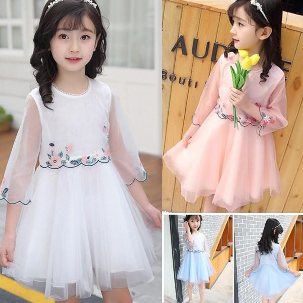 e3d1c8f821161 子供ドレス お花刺繍ドレス 女の子 こども キッズ ドレス チュール お姫様 ドレス 長袖フォーマル ピアノ発表