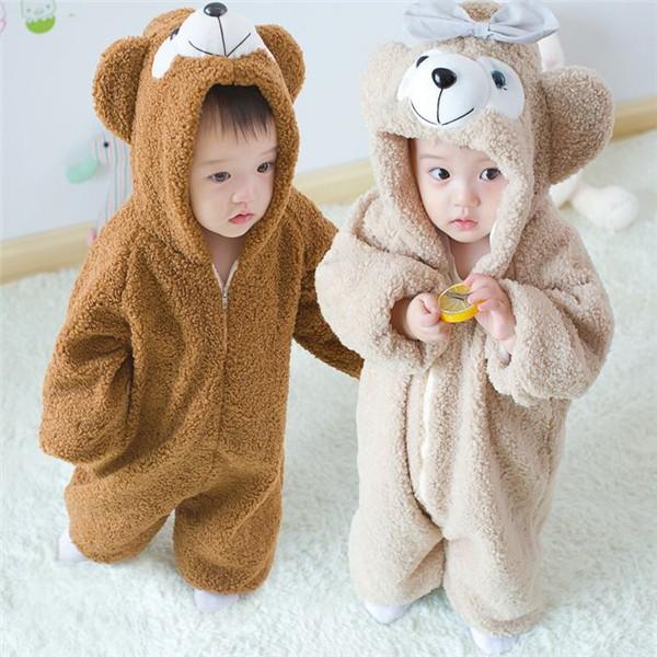 b372d824ae465 ラッピング付け 赤ちゃん 着ぐるみ くま オールインワン キッズ ベビー ロンパース 熊ちゃん もこもこ 厚手 男の子 カバーオール 女の子