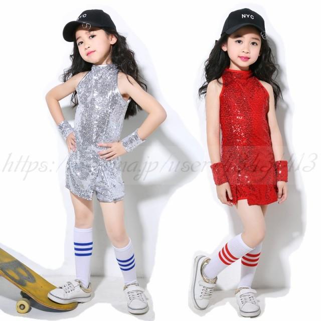 3963ce503a6ff キッズ ダンス衣装スパンコール ヒップホップキラキラ ドレス チャイナドレス ワンピース 子供 ダンス衣装 チアガール チア