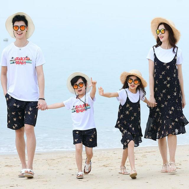 6b96b0f17bd40 親子お揃い ペアルック パパ ママ 女の子 男の子 上下 2点 セット Tシャツ 花柄