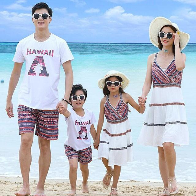 5e359984354a4 親子お揃い ペアルック パパ 男の子 ママ 女の子 エスニック柄 Tシャツ ショットパンツ キャミワンピース