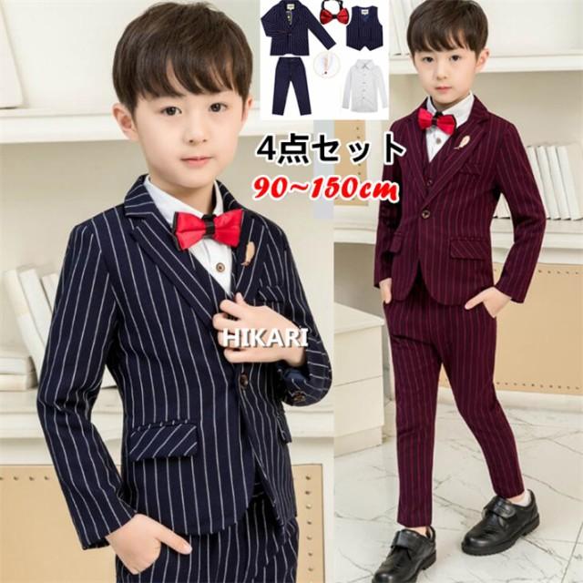 2cf13733e5446 ストライプ柄 子供スーツ 6点セット ジャケット+ベスト+パンツ+ワイシャツ+