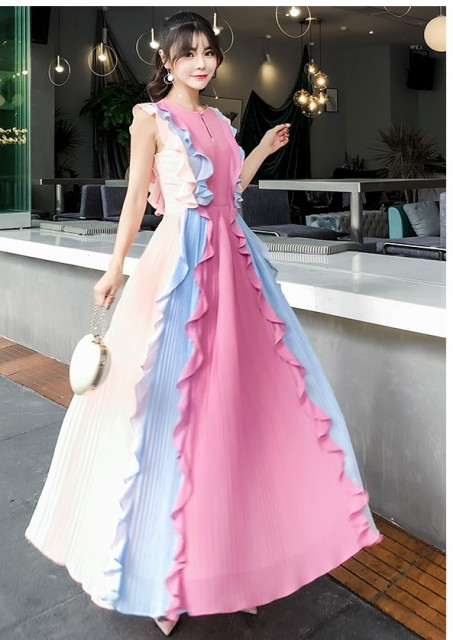 0358b3c9c7f56 フリルタンク ノースリーブ ロングドレス 結婚式 お呼ばれドレス パーティードレス 結婚式 ワンピース 20代