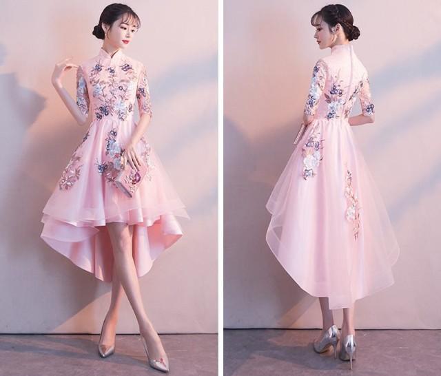 c79e1d5276de8 フラワー 刺繍 レース フィッシュテール チャイナ ドレス ワンピースドレス 結婚式 ドレス お呼ばれ ワンピース 20代