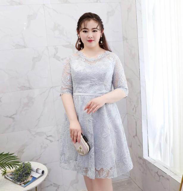 7bc2815f9726a 刺繍 五分丈 結婚式 パーティードレス 袖あり 大きいサイズ ロング お呼ばれ 6l 5l