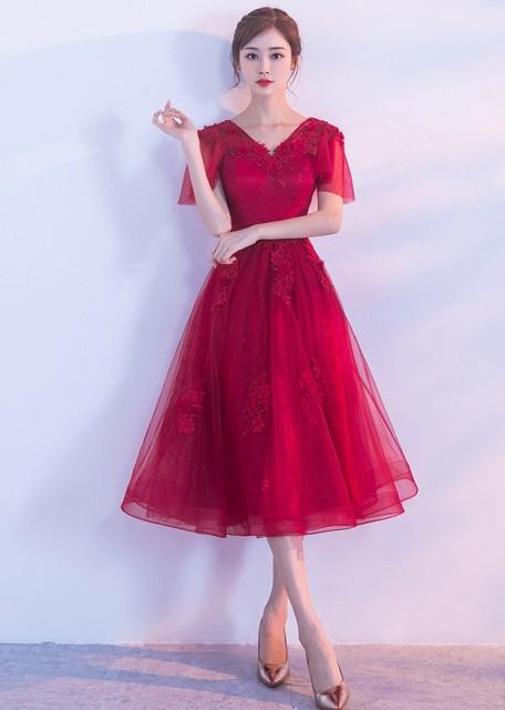 b5b2693874032 お得 花柄レース Vネック ワンピース ドレス 披露宴 二次会 同窓会 パーティー お呼ばれ 結婚式