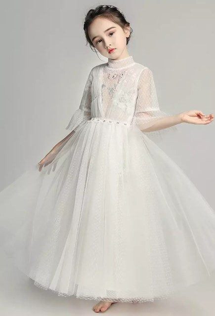 0e33332c87be9 花 ロングドレス ホワイト ピアノ 発表会 ドレス 子供 130 140 150 160 ドレス 子供 結婚
